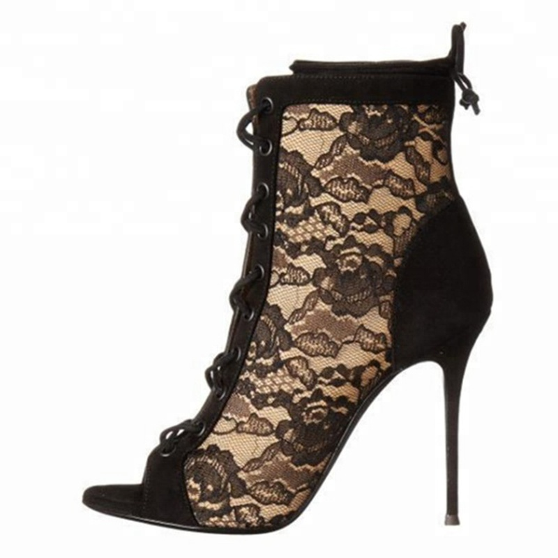 zapatos shoes office dress designs ankle <strong>boots</strong> for women sexy lace high heel rubber <strong>boots</strong> peep toe plus size shoes