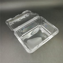Lid hinged breathing hole design takeaway clear plastic snack box
