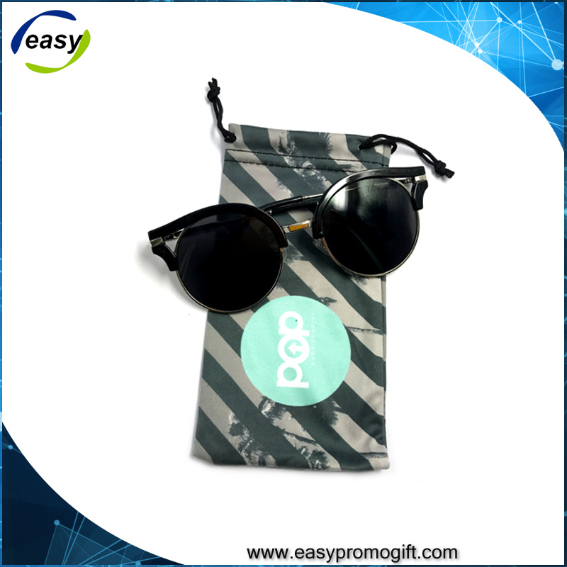 Double drawstring Promotional Microfiber sunglasses pouch
