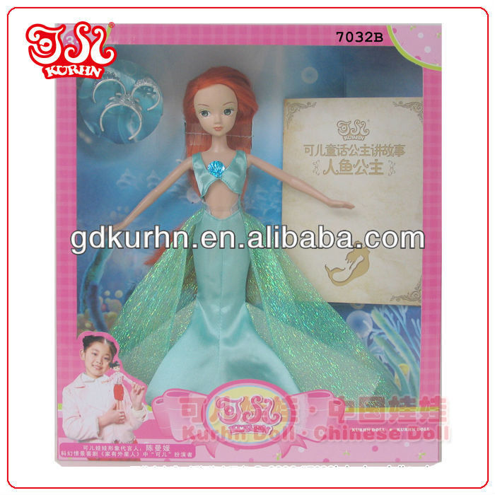 11.5 inch plastic mermaid fairy doll with blue dress