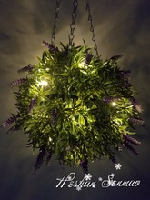 holiday ceiling decoration lighting artificial hanging flower ball boxwood ball with led light for wedding decor