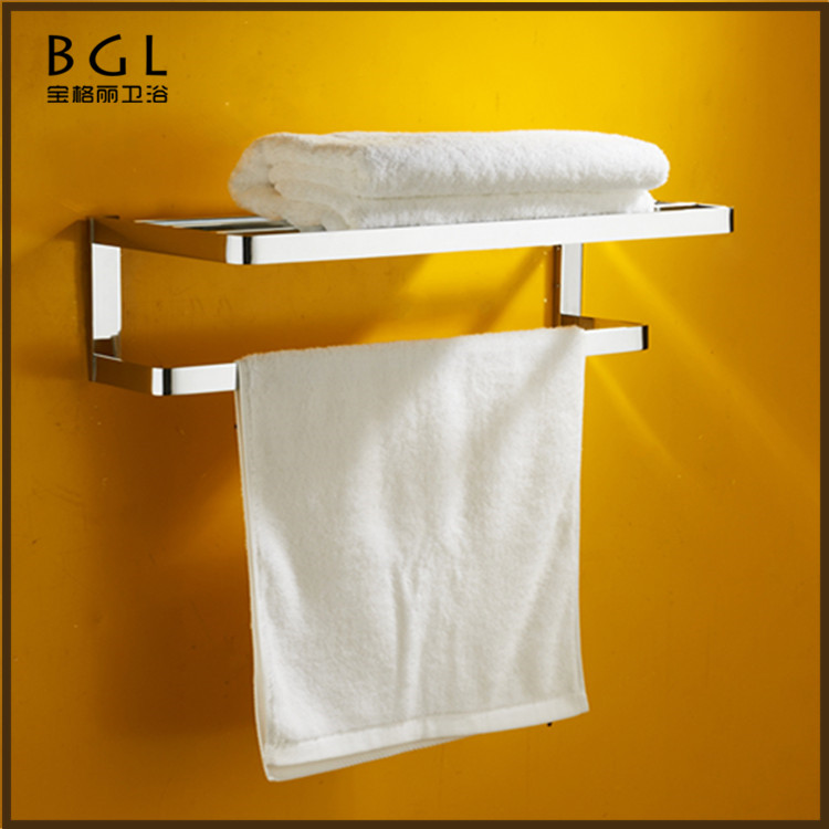 No.85120Bathroom Simple Designs Brass Chrome Wall Mounted Clothes Hanger Towel Shelf