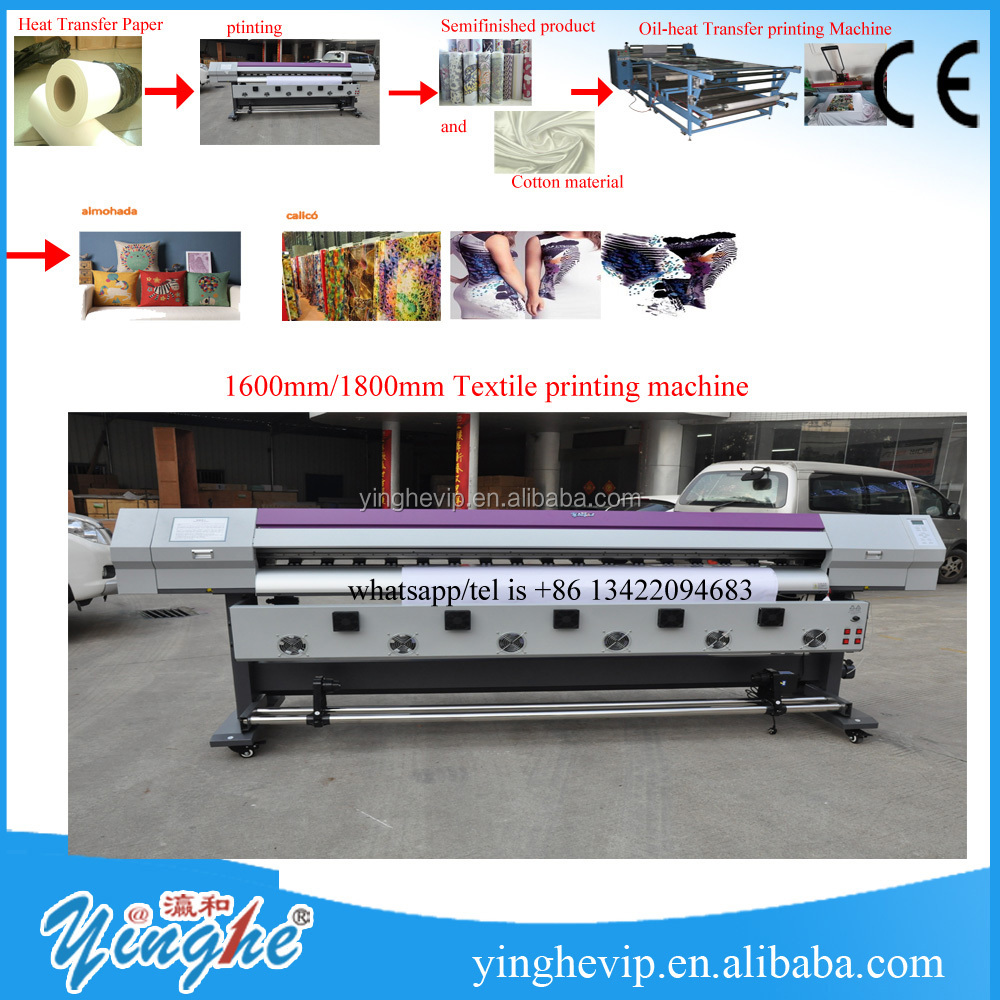yinghe 1520mm/1800mm/3200mm Textile printing plotter machine/digital printer/iInkjet Printers plotter /eco <strong>solvent</strong> printer
