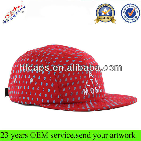 Red 5 panel hat/dot printing 5 panel/wholesale custom all over print 5 panel hat