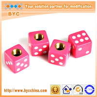 BYC Solid Pink Dice Tire Valve Stem Cap, Special Automobiles Solid Dice Tyre Valve Cap