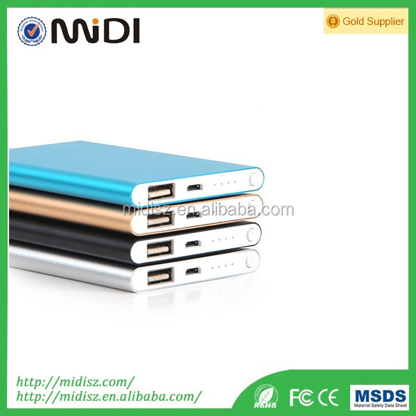 High quality ultra slim portable mobile phone power bank 4000mah for all smart phones