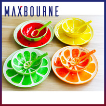Large handmade painted Watermelon fruit ceramic bowls