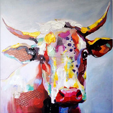 Abstract funny colorful tall cow is looking for food 100% pure hand-painted 100% handmade decoration oil painting in canvas
