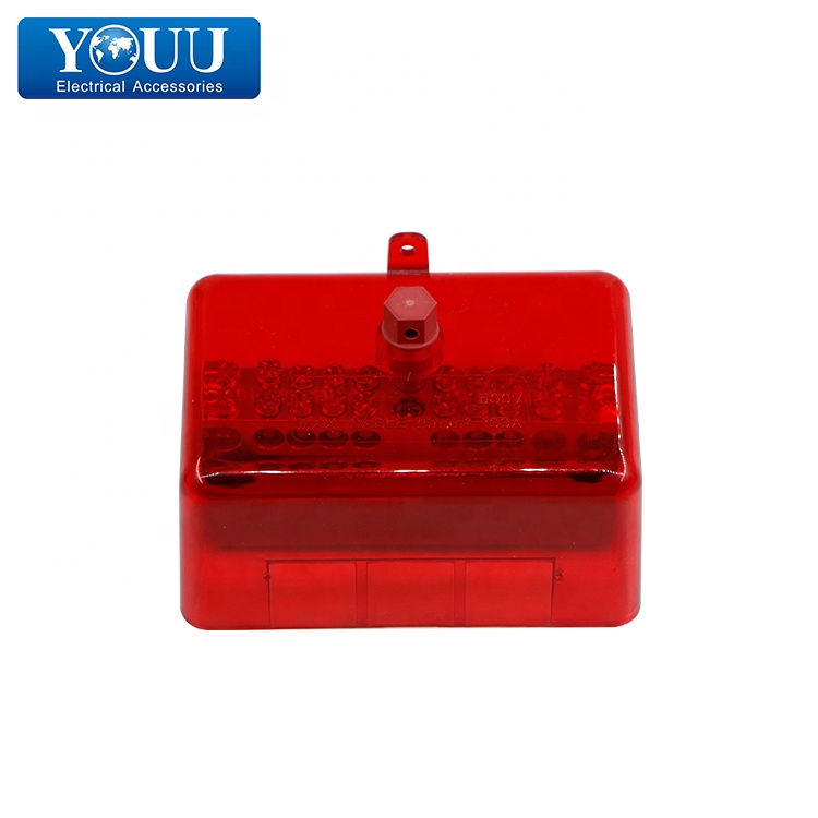 YOUU 100A 500V Neutral Link 10 <strong>Hole</strong> - Red - Max. Cable 16 Square millimeter