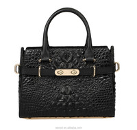 genuine leather brief case women bag crocodile effected animal grain ladies hand bag