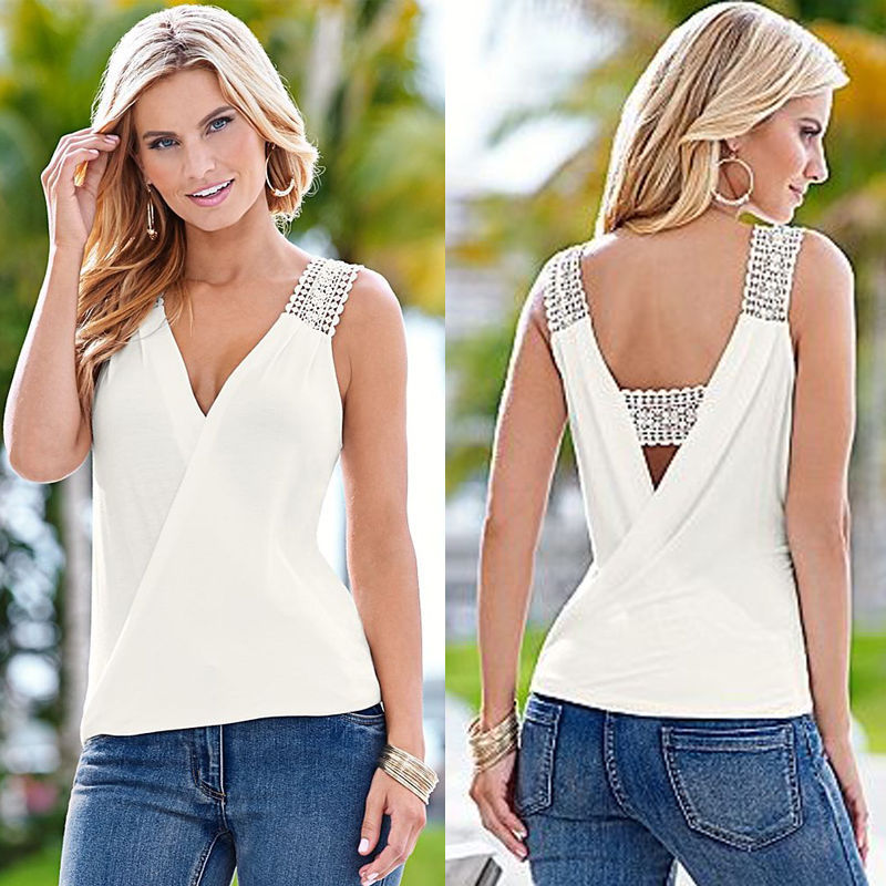 latest style blouse sleeveless pullover blouse loose and V-neck blouse