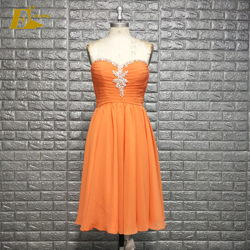 Handmade Beaded Sweetheart Neckline Short Orange Chiffon Prom Dress
