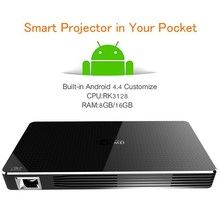 Mini Android Smart Portable Projector 0.3 DLP WVGA with 3200mAh Build-on Batteries