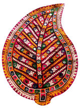KTPA-6 Leaf shape New embroidery designs Indian traditional multi purpose patches banjara patch mirror work frm Jaipur