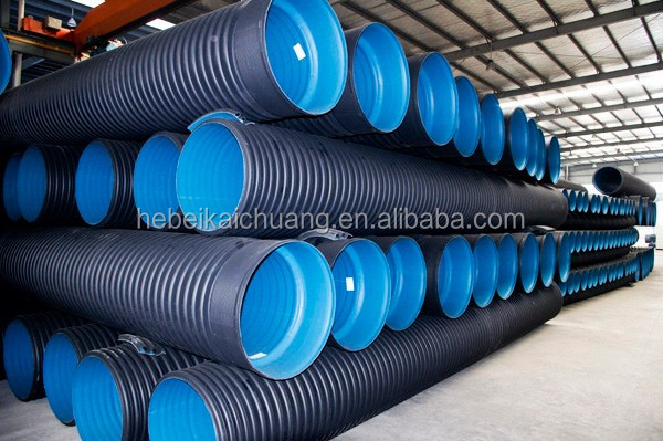 GB International DIN HDPE flexible twin wall double wall corrugated perforated pipe for water drainage tube