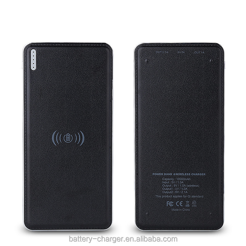 Wireless charger with external battery charger adapter charger power banks 10000 mah with real capacity for mobile phone