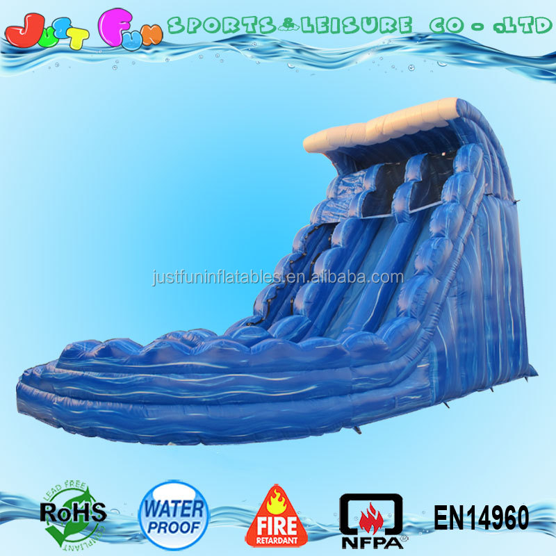 2016 new inflatable water slide with swimming pool,sea wave water slide with pool,used inflatable water slide for sale