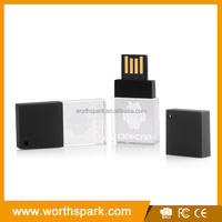 16GB crystal USB stick with customer's 3D logo and gift box