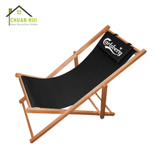 Wholesale custom wooden fold outdoor beach deck chair with wood headrest