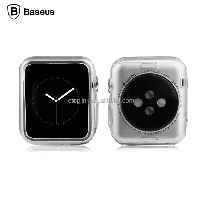 Baseus Simple Series TPU Protective Cover Transparent Color Back Case for Apple Watch 38mm 42mm Smart Watch Protective Shell