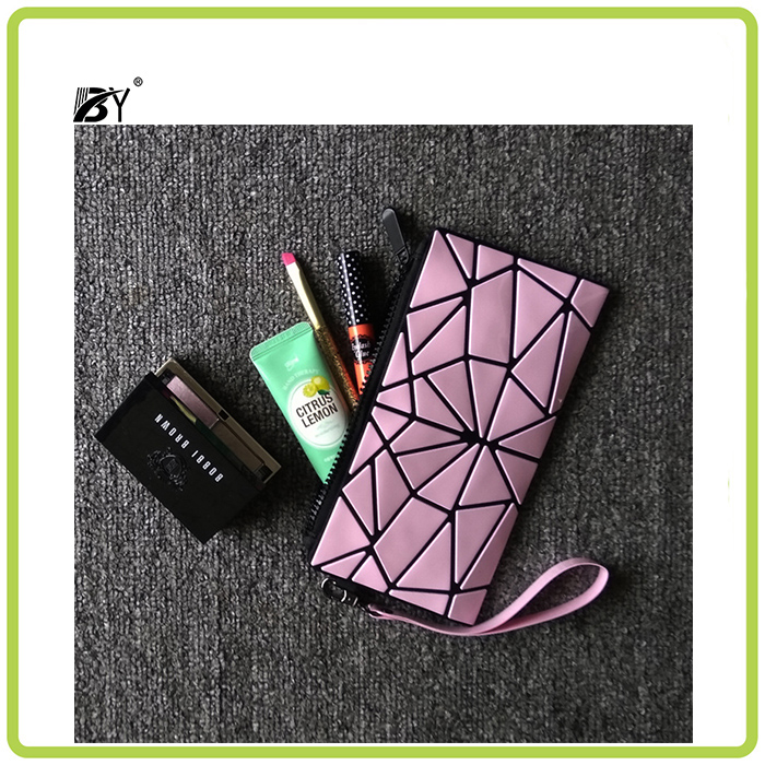 Hot sale fashion Lady laser bags Geometry block cosmetic bag clutch bag