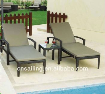 Popular All Weather Aluminum Rustproof Frame rattan chaise lounge