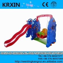 plastic colorful multifuction children swing and slide elephant style