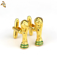 High Quality American Football Trophy Cuff Links Golden Shiny Cup Cufflinks For Fans
