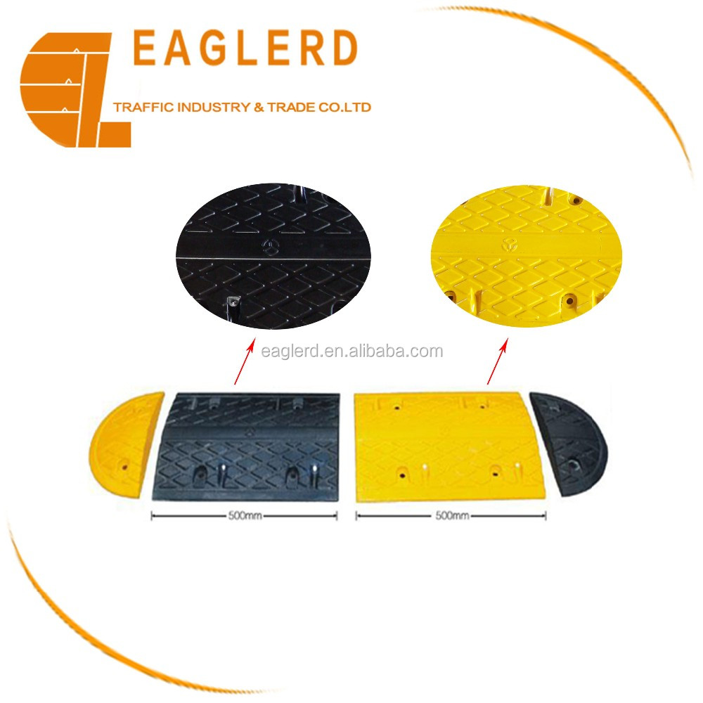 Cat eye reflective yellow & black Rubber speed bumps 1000*380*50mm
