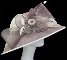 Women Summer Philippine Sinamay Wide brim Church Hat Wedding Bow Millinery