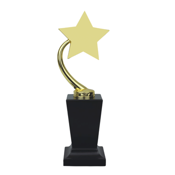 Promotional gift zinc alloy metal gold star award trophy with base