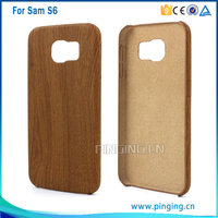 New arrival wood grain design pvc stick skin mobile phone cover for samsung galaxy s6 button protective case