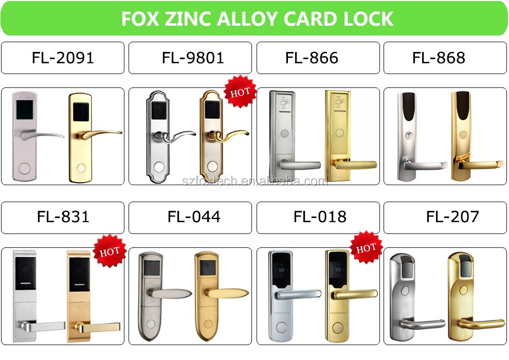 FOX rf card hotel lock with pro usb card system for hotel