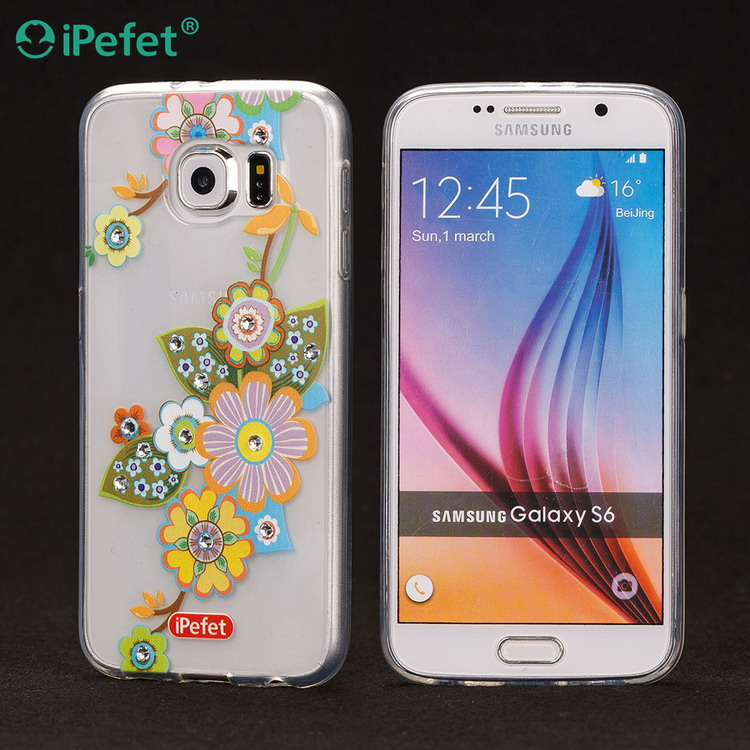custom design Soft TPU transparent Mobile Phone Case with diamond for Samsung S6