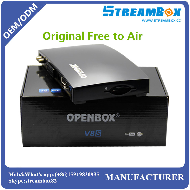 Free shipping Original Openbox V8S satellite receiver with UK TP support 2xUSB USB PVR Wifi WEB TV Weather Forecast