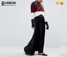 Lady Chic Stretch Hign Waist Black Pleated Maxi Skirt In Velvet