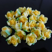 Attractive!! Loose beautiful porcelain clay flowers!! Bright yellow colors ceramic clay rose flowers!! Fashion for jewelrys!! !!