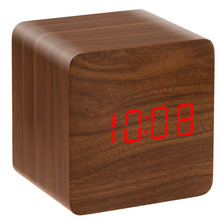 Cheap wooden 2016 digital table alarm clock , wholesale led light digital desk temperature display alarm clock