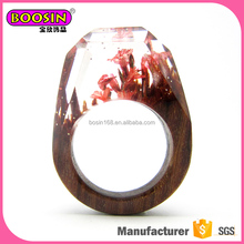 Cute miraculous worlds into ring resin wood ring fashion landscape flower rings factory wholesales