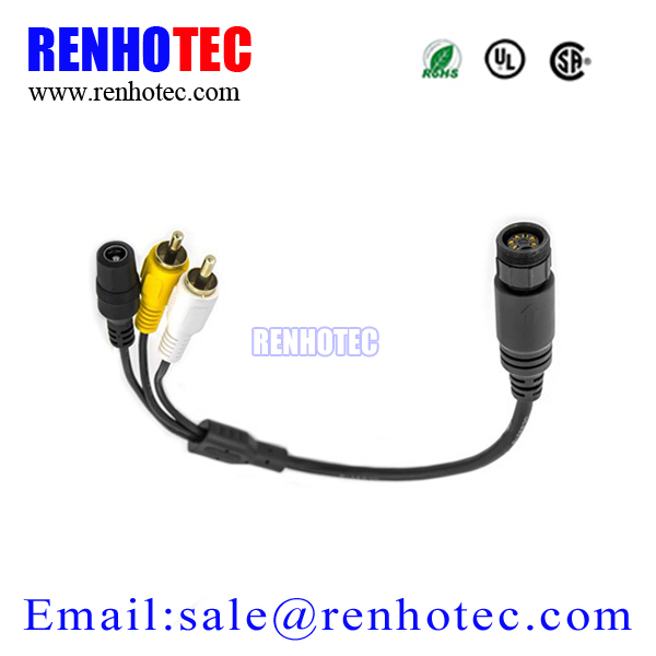 M12 4 pin aviation cable to RCA DC for rear view camera system