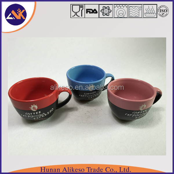 Top sale cheap bulk stoneware ceramic coffee/cappuccino/espresso mug with handle from China