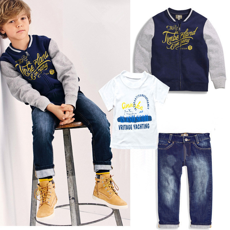 free shipping 2016 new boy 3 piece suit autumn style coat+ t shirt + jeans clothes set baby boy clothes high quality sports suit