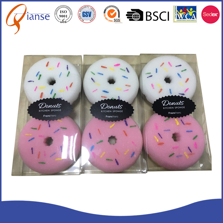 2017 hot sale high quality heavy duty usage doughnut shaped kitchen scouring pads / cleaning sponges