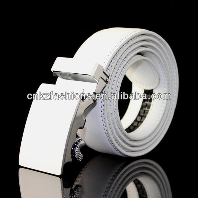 Factory price 3.5cm automatic buckle white leather mens belts