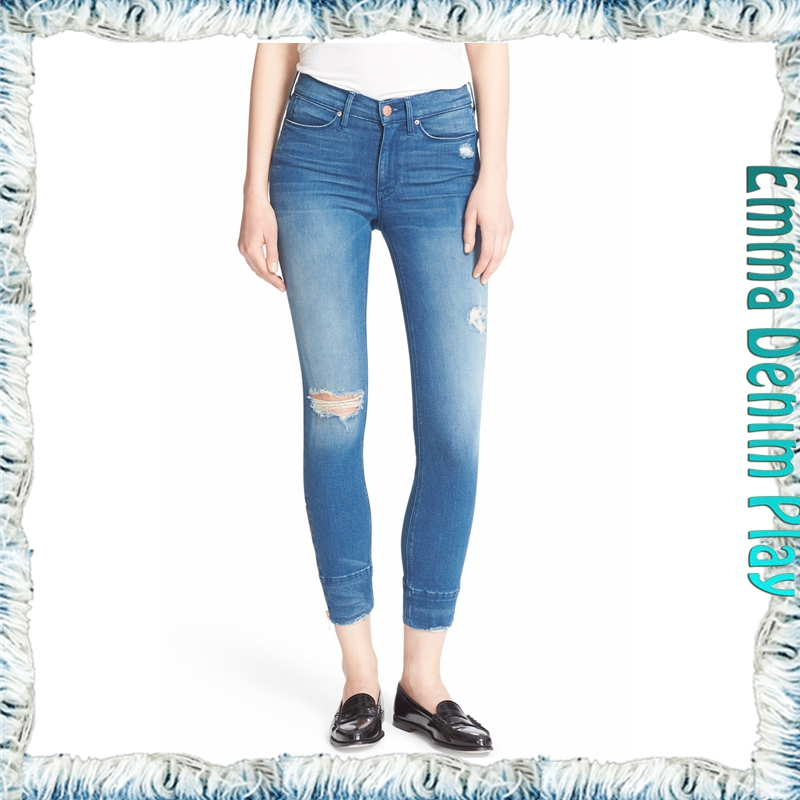Faded Blue Lady's Skinny Stretchy Distressing Jeans with Zipper