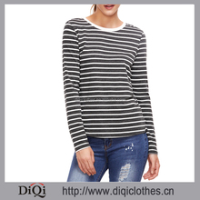 Garment factory price wholesale casual women Spring Black and White Long Sleeve Striped 100% Cotton T-Shirt