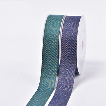 Wholesale reusable good quality OEM color gold purl Twill grosgrain ribbon