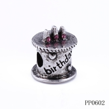 Wholesale antique silver color birthday cake shaped custom engraved metal beads