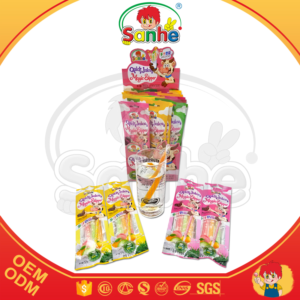 Drinking juice straw with fruity mix milk candy beads
