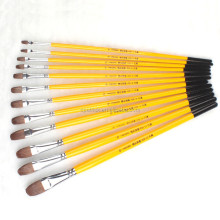 High-end Weasel Hair Wood Handle Painting Brush Wholesale Artist Paint Brush 6pcs/set for art supplies